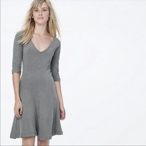 James Perse seamed flare dress olive green NWT